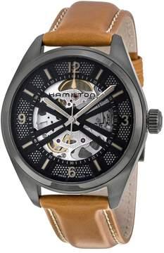 Hamilton Khaki Field Skeleton Dial Brown Leather Men's Watch