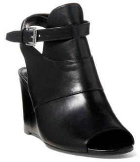 Ralph Lauren Abelle Calfskin Wedge Sandal Black 11.5