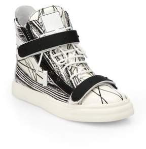 Giuseppe Zanotti Scribbled Leather High-Top Sneakers