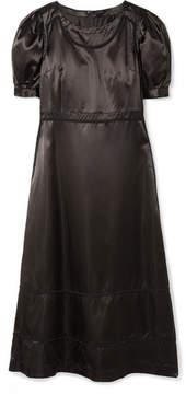 Comme des Garcons Appliquéd Satin Midi Dress - Black