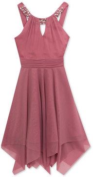 Rare Editions Embellished-Neck Fit & Flare Dress, Big Girls (7-16)
