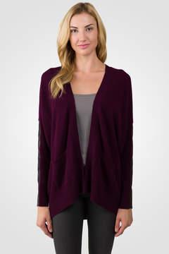 J CASHMERE Plum Cashmere Dolman Cardigan Tunic Sweater