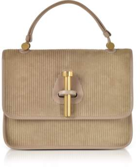 Rodo Taupe Striped Suede and Leather Satchel Bag