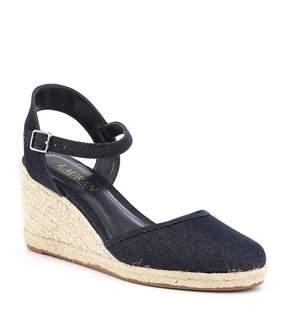 Lauren Ralph Lauren Hayleigh Denim Espadrille Wedge Sandals