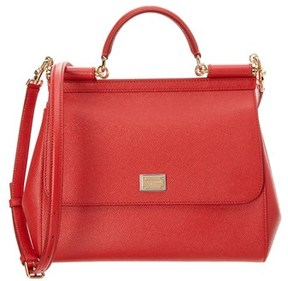 Dolce & Gabbana Sicily Large Dauphine Leather Satchel. - RED - STYLE