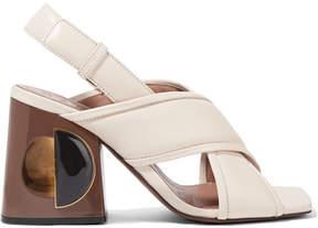 Marni Leather Slingback Sandals - Off-white