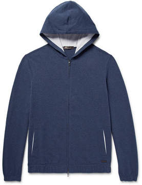 Loro Piana Stretch-Cotton Jersey Zip-Up Hoodie