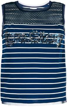 Pinko fishnet panel embellished top