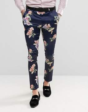 Asos WEDDING Super Skinny Suit Pants With Navy Floral Print