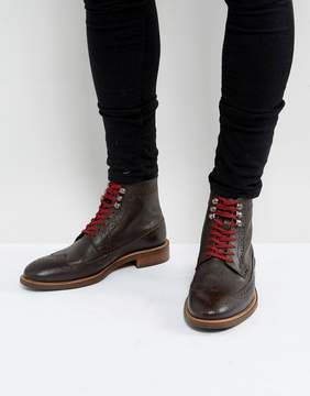 Dune Pebble Brogue Boots In Brown