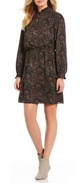 Isaac Mizrahi Imnyc IMNYC Ruffle Neck Long Sleeve Blouson Dress