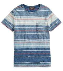Ralph Lauren Striped Cotton Pocket T-Shirt Blue Indigo Multi Xs