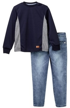 7 For All Mankind Long Sleeve Tee & Jeans Set (Toddler Boys)