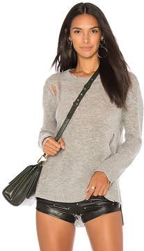 Enza Costa Cashmere Side Slit Crewneck Sweater