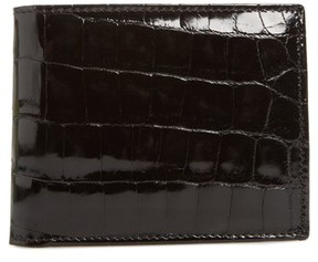 Mezlan Men's Alligator Leather Bifold Wallet - Black