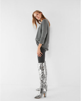 Express tall metallic slouch boots