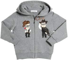 Dolce & Gabbana Cowboy Hooded Zip-Up Cotton Sweatshirt