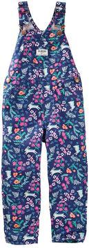 Osh Kosh Toddler Girl Flower & Bunny Print Twill Overalls