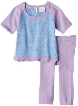 Cuddl Duds Baby Girl Colorblock Knit Top & Heart Pants Set