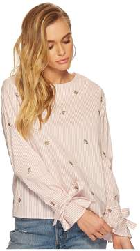 J.o.a. Printed Embroidered Bell Sleeve Top Women's Clothing