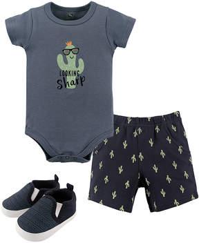 Hudson Baby Blue 'Looking Sharp' Cactus Bodysuit Set - Newborn & Infant