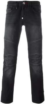 Philipp Plein biker straight jeans