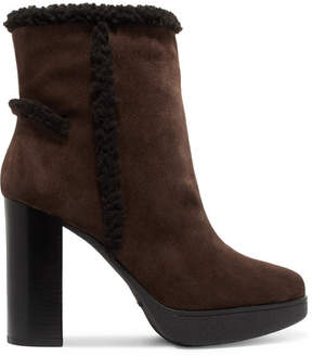 Tod's Shearling-trimmed Suede Platform Ankle Boots - Brown