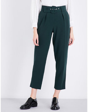 Claudie Pierlot Belted tapered crepe trousers
