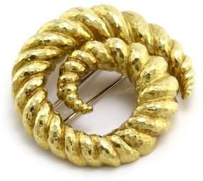 David Webb 18K Yellow Gold Swirl Brooch