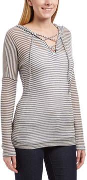 Celeste Navy Stripe Lace-Up Drawstring Hoodie - Women