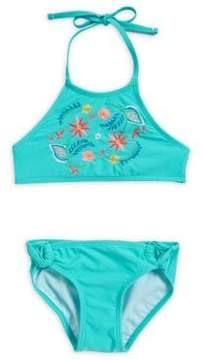 Hula Star Girl's Two-Piece Summer Floral Embroidery Bikini