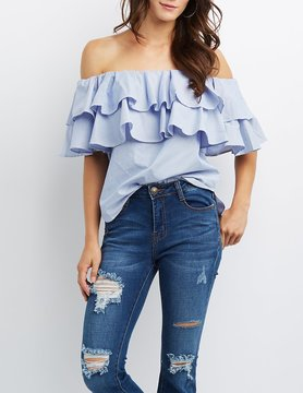 Charlotte Russe Striped Tiered Ruffle Off-The-Shoulder Top