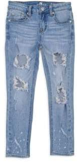 7 For All Mankind Little Girl's& Girl's Ankle Skinny Rip Jeans