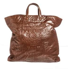 Bvlgari Orange Metallic Textured Leather Tote Handbag.