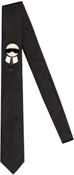 6cm Karl Patch Silk Satin Tie