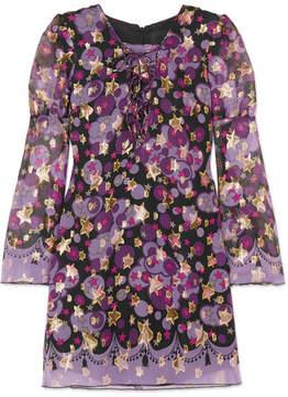 Anna Sui Curtain Of Stars Metallic Fil Coupé Silk-blend Mini Dress - Purple