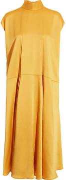 Valentino Hammered-satin Midi Dress - Yellow