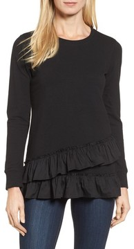 Bobeau Women's Poplin Ruffle Trim Sweatshirt