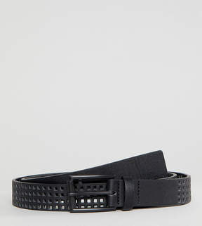 Asos PLUS Slim Belt In Black Faux Leather With Perforated Holes