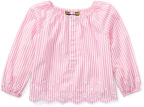 Ralph Lauren | Striped Cotton Eyelet Top | 6 years | Pink