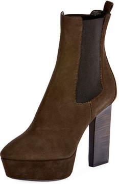 Saint Laurent Vika Suede Platform Ankle Boot, Olive