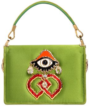 Swarovski & Eye Charm Satin Shoulder Bag