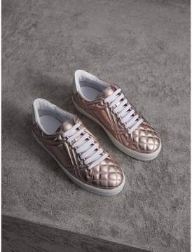 Burberry Metallic Check-quilted Leather Trainers