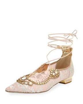 Rene Caovilla Embellished Lace Ankle-Tie Flat, Pink