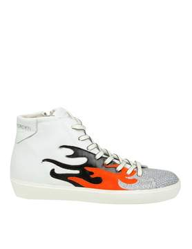 Leather Crown Sneakers High w Fire In Leather Color White