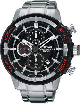 Pulsar Men's Chronograph On The Go Stainless Steel Bracelet Watch 47mm PM3047