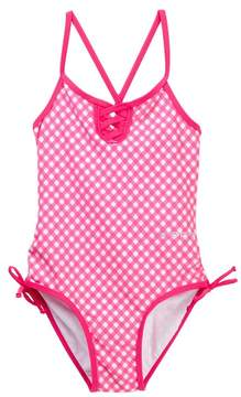 Bebe Gingham Crossback One-Piece Bathing Suit (Big Girls)