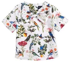 Oscar de la Renta Mikado Botanical Birds Top