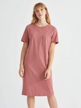 Frank and Oak Heavy Cotton Short Sleeve Tee Dress in Withered Rose