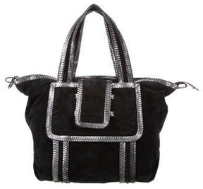 Pierre Hardy Snakeskin-Trimmed Suede Tote